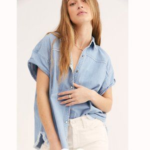 "FREE PEOPLE ""We The Free Indigo Denim Buttondown"""